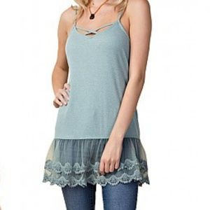 Tops - Caged lace hem tank tops