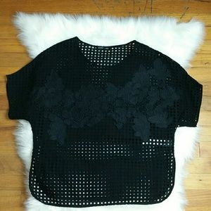 Zara Eyelet and Embroidered Applique Top