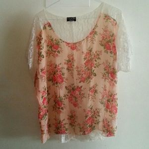 Tops - Brand New Plus Size 3x Chiffon and lace  top