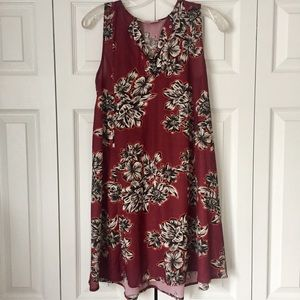 Philosophy Maroon Floral Sundress Coverup - XS