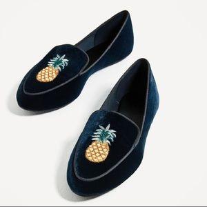 Zara Velvet Flat Loafers w/ Pineapple Embroidery