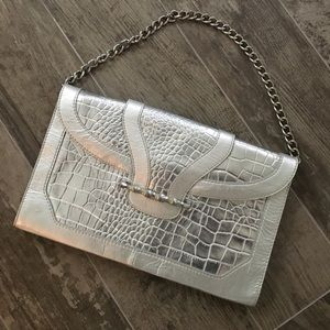 Silver croc oversized clutch from Elaine Turner