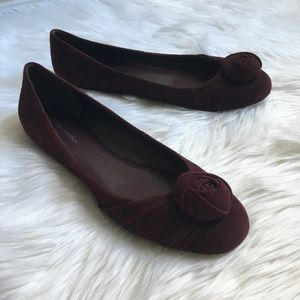 Banana Republic red wine color suede ballet flats
