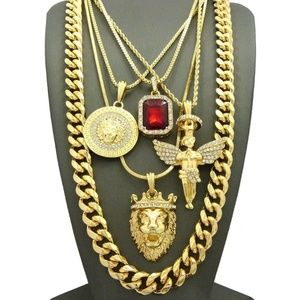 Other - ICED OUT KING LION ANGEL MEDALLION RED PENDANT SET