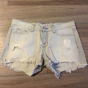 J Brand distressed gray denim shorts