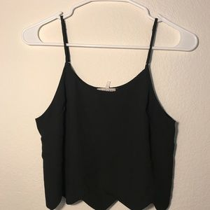 LA Hearts Black Chiffon-like Crop Tank Top with Sc