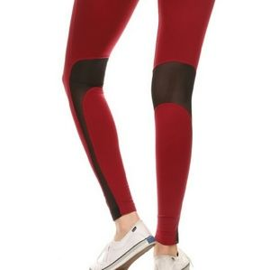 Pants - Burgandy black Mesh yoga workout leggings