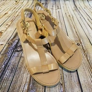 Tory Burch Leather T-Strap Bamboo Wedge Sandals