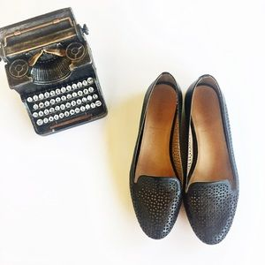 J Crew Cleo Perforated Leather Loafers Black 7