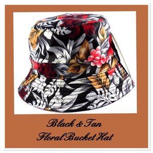 Black & Tan Floral Bucket Hat
