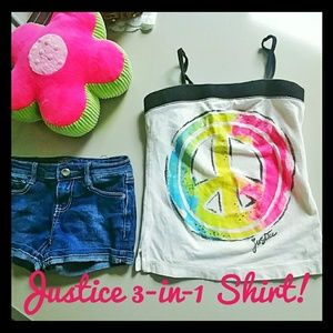 Justice 3-in-1 shirt!  Tank/halter/tube top size10