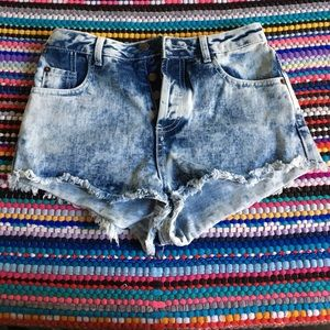 High Waisted Jean Shorts from Topshop