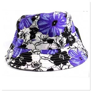 Purple & Black Floral Bucket Hat