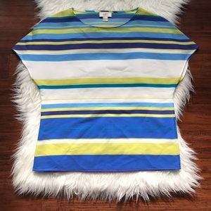 LOFT Blue Stripe Short Dolman Sleeve Sheer Blouse