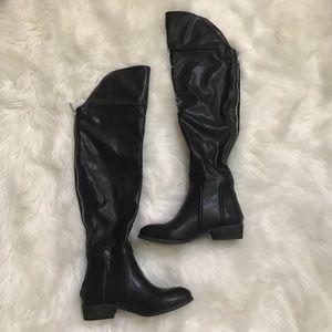 Report Signature Black Over The Knee Zip Boots