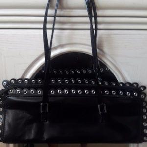 Black Leather Purse Scallop & Grommet Detail