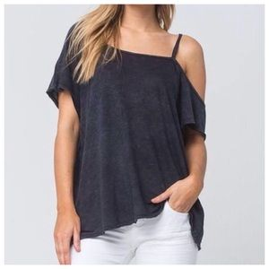 NWT Free People Cold Shoulder Distressed Tee