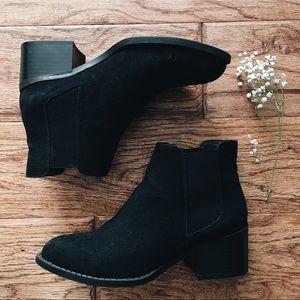 black block heeled booties