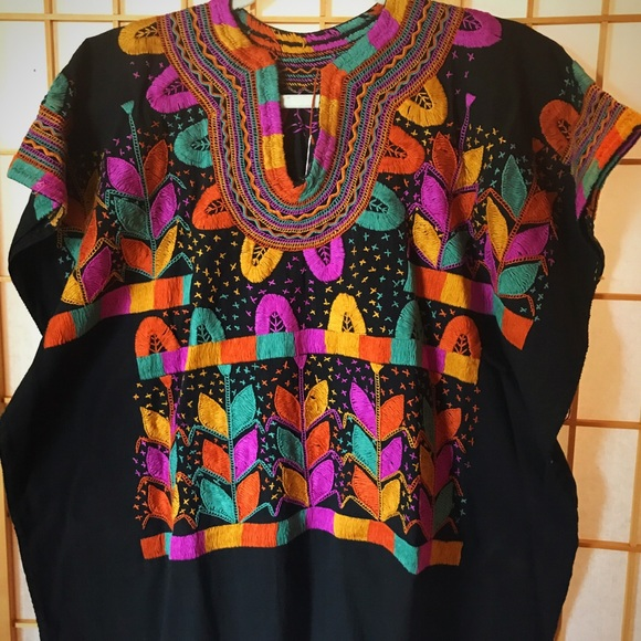 2f36401259e45 Milpa Embroidered Blouse Chiapas Handmade Top