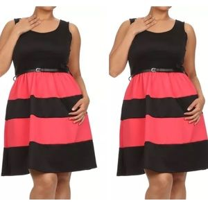 Dresses & Skirts - New Plus Size Flare Red & Black Dress Size 1X