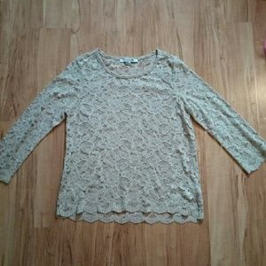 F21 Lace Long Sleeve Top