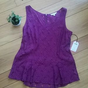 Gorgeous CAbi Peplum Lace Top Boysenberry