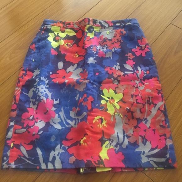 LOFT Dresses & Skirts - Ann Taylor Loft Flower Neon Pencil Skirt 6 P