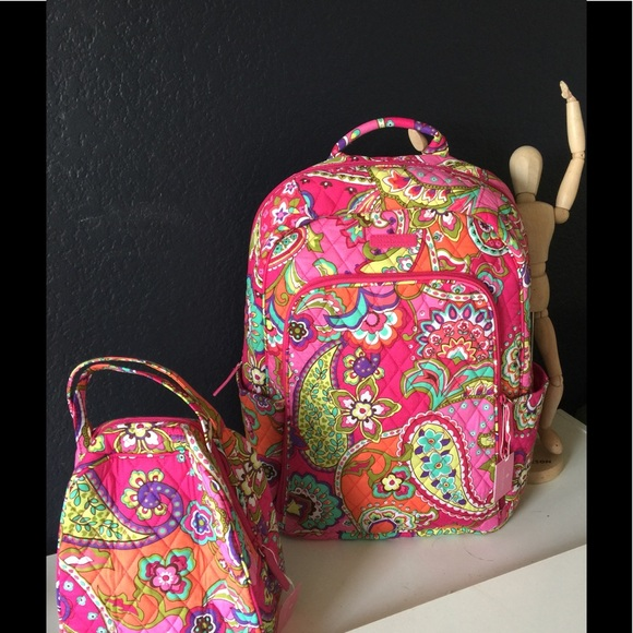 Vera Bradley Pink Swirls Laptop Backpack Lunch Bag