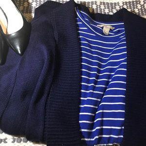 Vintage Navy Blue Long Cardigan