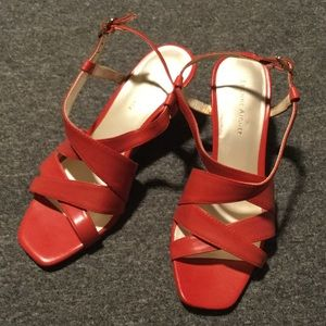 Etienne Aigner coral strappy wedges