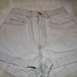 American Apparel High Waisted White Shorts Size 26