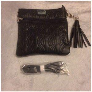NWT BELLE RUSSO faux leather black purse/clutch