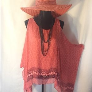 Tops - Made in Italy peach cold-shoulder blouse.