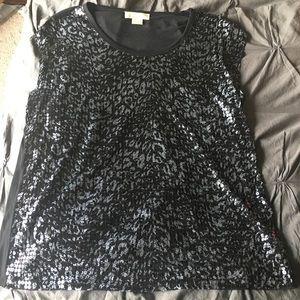 EUC Michael Kors Black & Grey sequin top Size: 1x