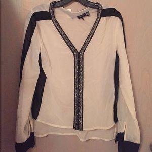 Black & White Blouse by Dex - Size S/P