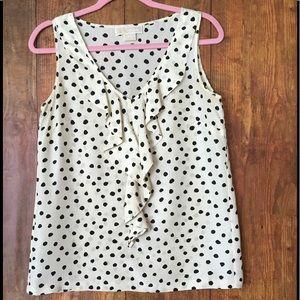 Michael Kors cream/black polka dot silk blouse