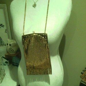 Vintage gold mesh fringe clutch evening bag purse