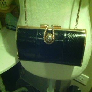 Black gold faux croc barrel evening clutch purse