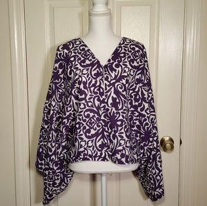 Deva Lifewear Purple Patterned Cotton Kimono Top