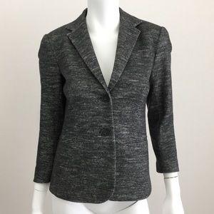Theory 2 Grey Wool Tweed Fitted Career Blazer EUC