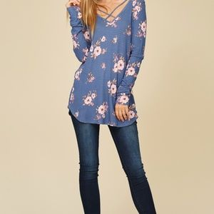Staccato Tops - NWT STACCATO Printed Waffle Long Sleeve Top