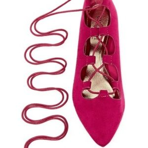 Shoes - Lace up flats fuchsia