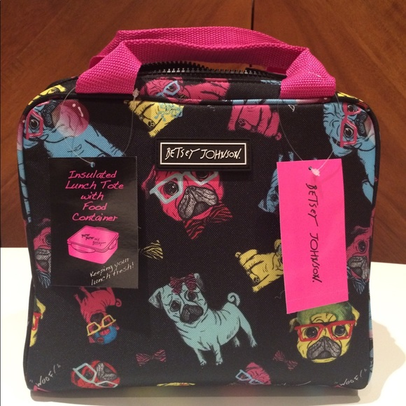❣SALE❣ Betsey Johnson Multi Pugs Lunch Tote + Tub