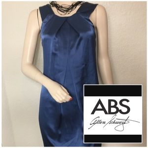 NWT ABS Allen Schwartz Blue Satin Dress Sz 2