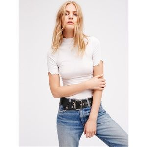 FREE PEOPLE mock neck white ribbed layering top