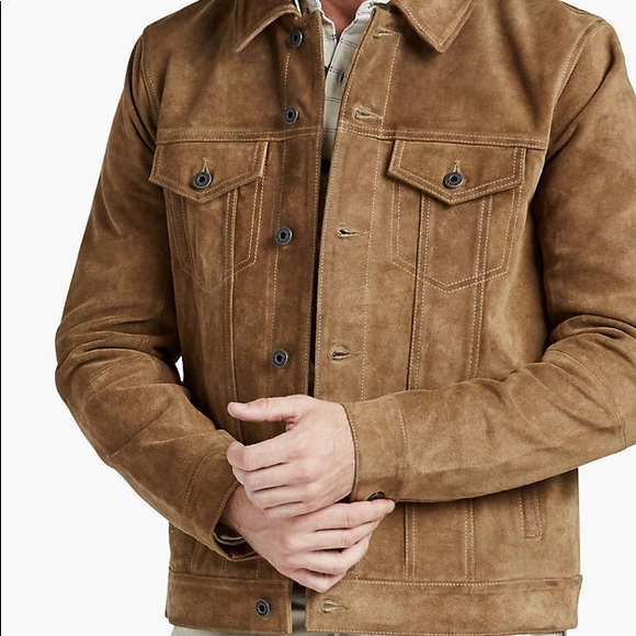 faf309399 Lucky Brand Suede Leather Trucker Jacket, Size L NWT