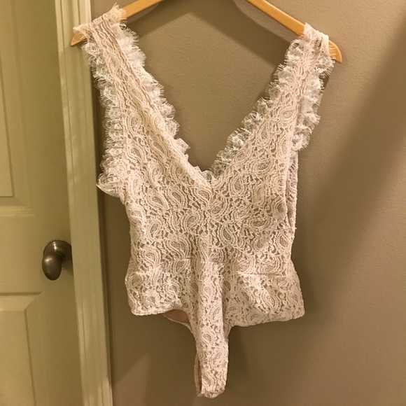 c90346207f White lace and nude plunge V-neck bodysuit