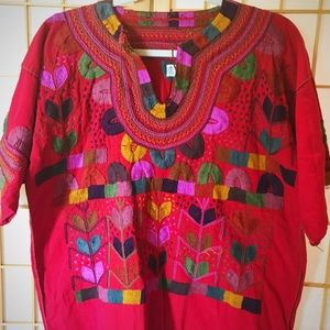 New Mexican Handmade Embroidered Blouse Chiapas