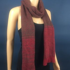 Gap Burgundy & Gray Knit Scarf