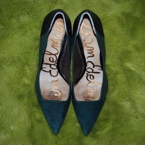 Sam Edelman Green Black Pointed Toe Heels 8.5